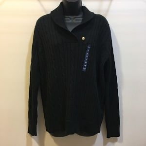 Chaps black heavy knit sweater size 1X New w/Tags